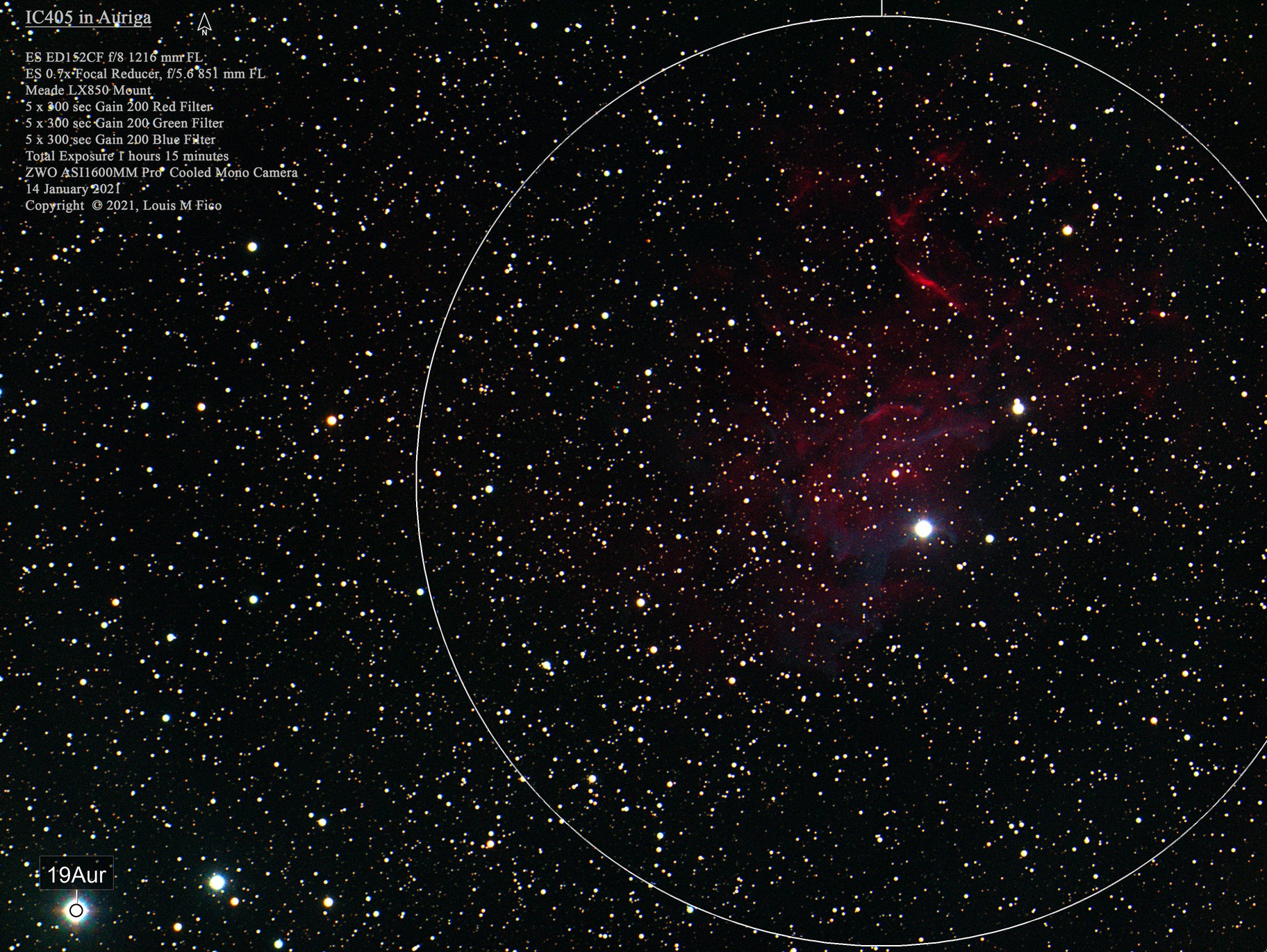 IC405 The Flaming Star Nebula in RBG only