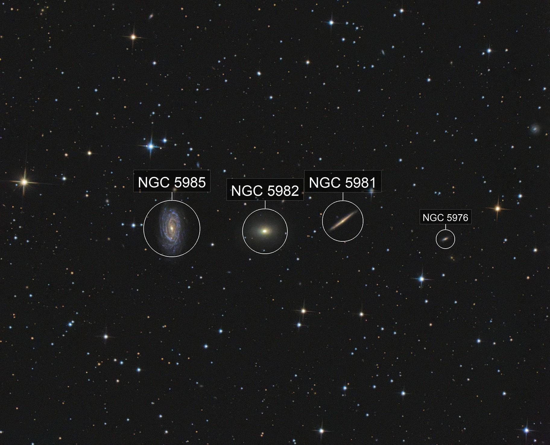 Draco Triplet (NGC 5985, NGC5982, NGC5981)