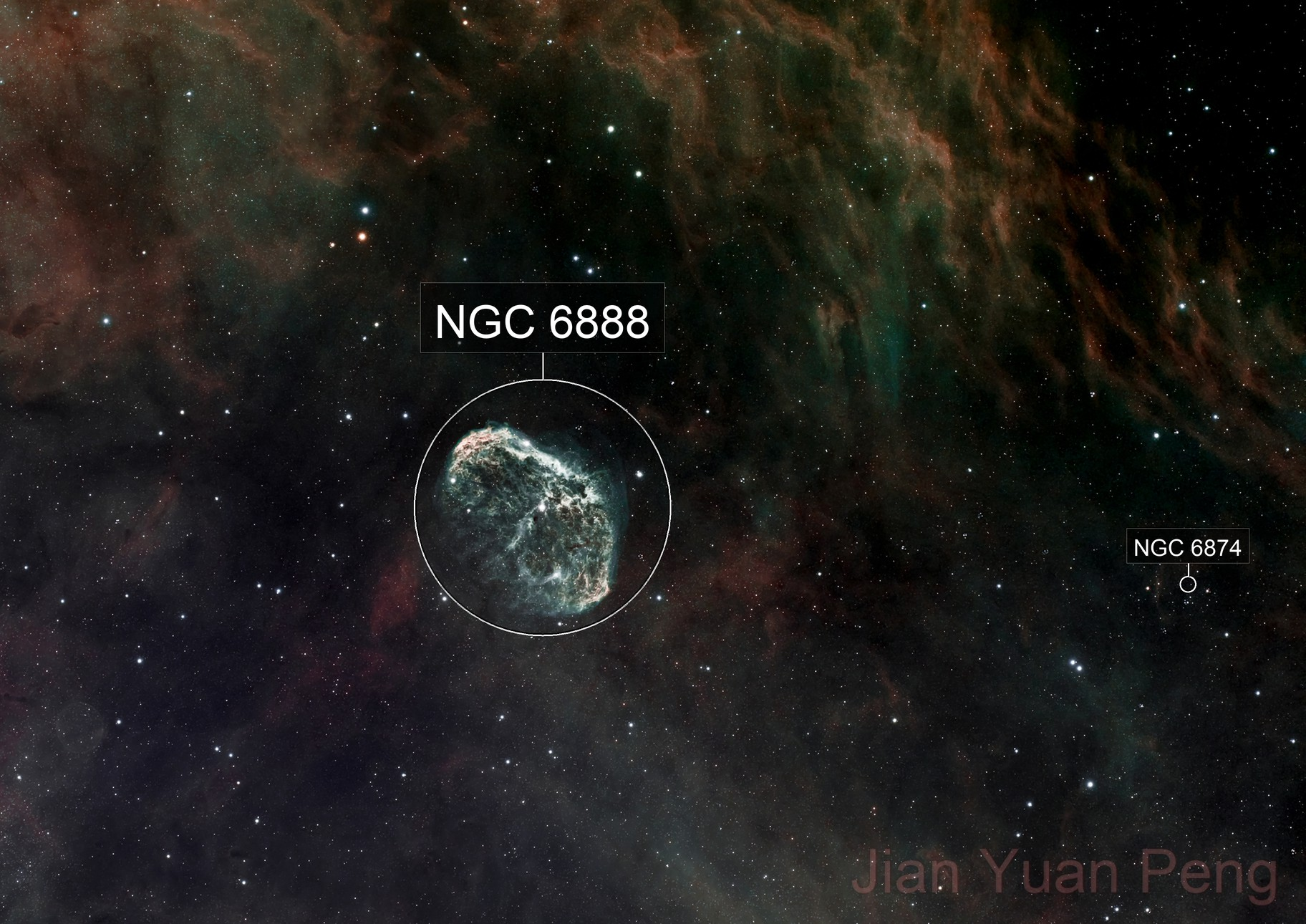 Crescent Nebula (NGC6888) updated stars processing and different taste