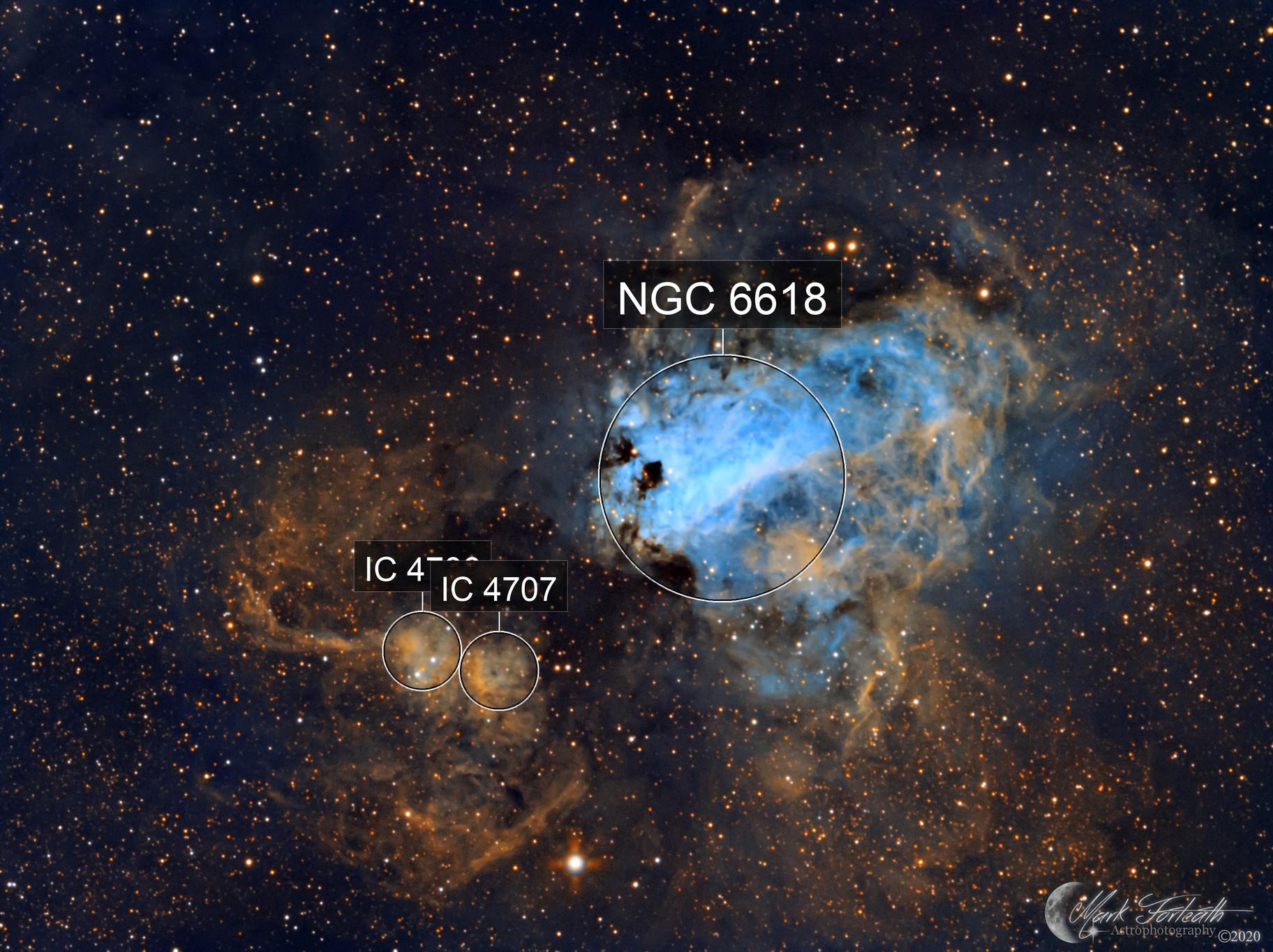 M17 The Omega Nebula in SHO narrow band