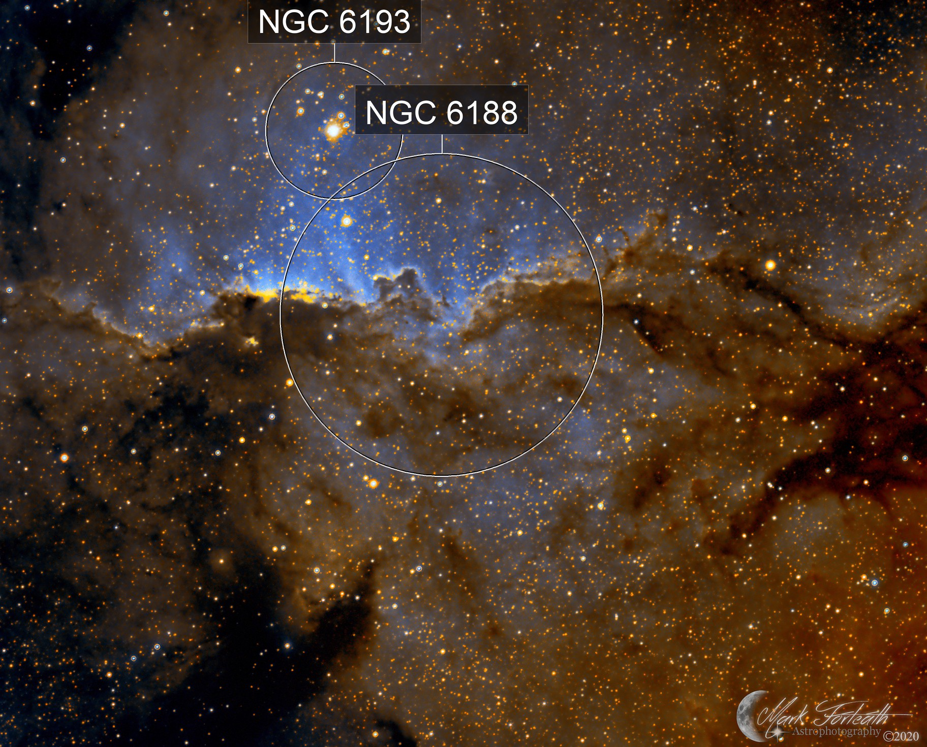 NGC6188 The Fighting Dragons of Ara (in narrow band Hubble Palette)
