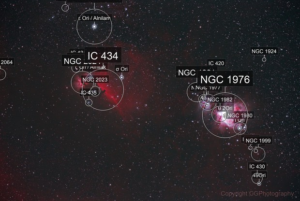 Orion, Running Man, Horsehead and Flame Nebula