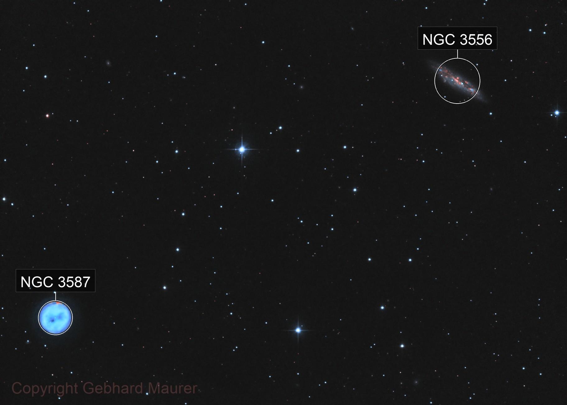 M97 & M108 Owl Nebula & Surfboard Galaxy HOO
