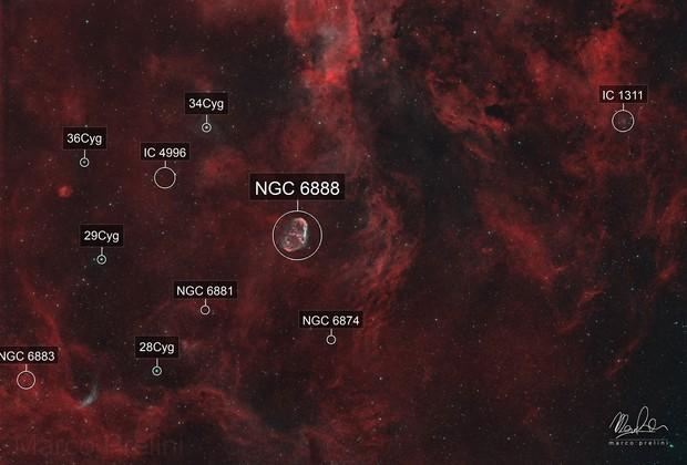 The Cygnus - Crescent Nebula and surroundings
