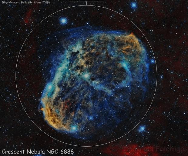 Crescent Nebula (NGC6888) in Cygnus Bicolor