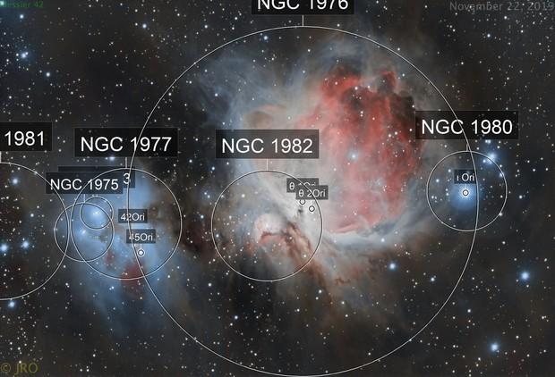 Messier 42 and the Running man nebula