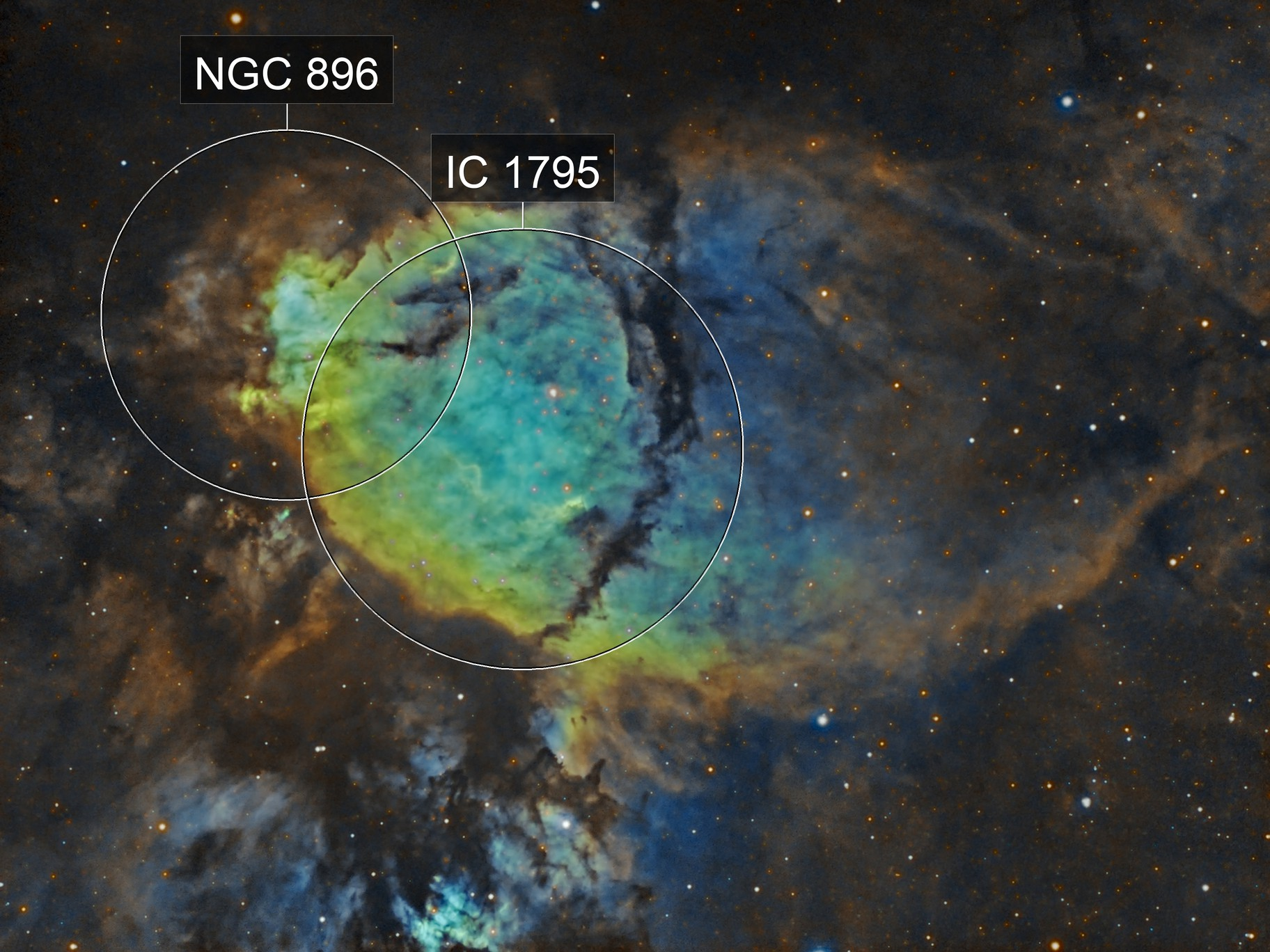 IC 1795 the Fishhead Nebula in Cassiopeia
