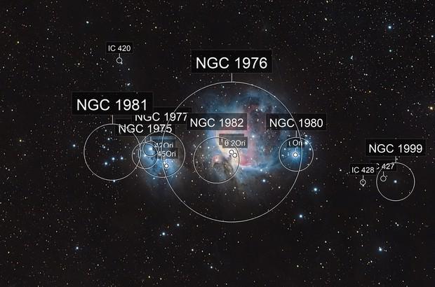 Orión nebula (M42) and running man nebula (NGC 1977)