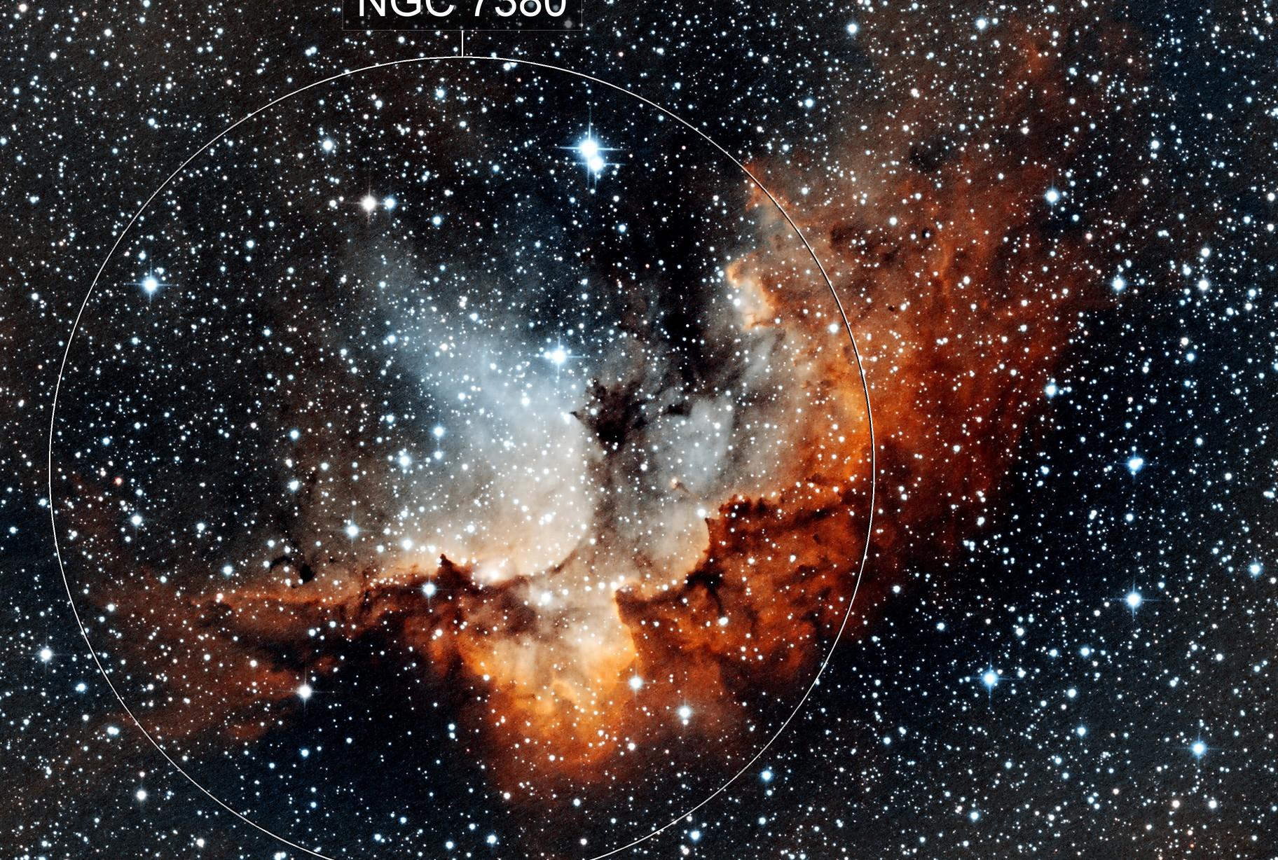 NGC 7380 - Wizard Nebula (SHO)