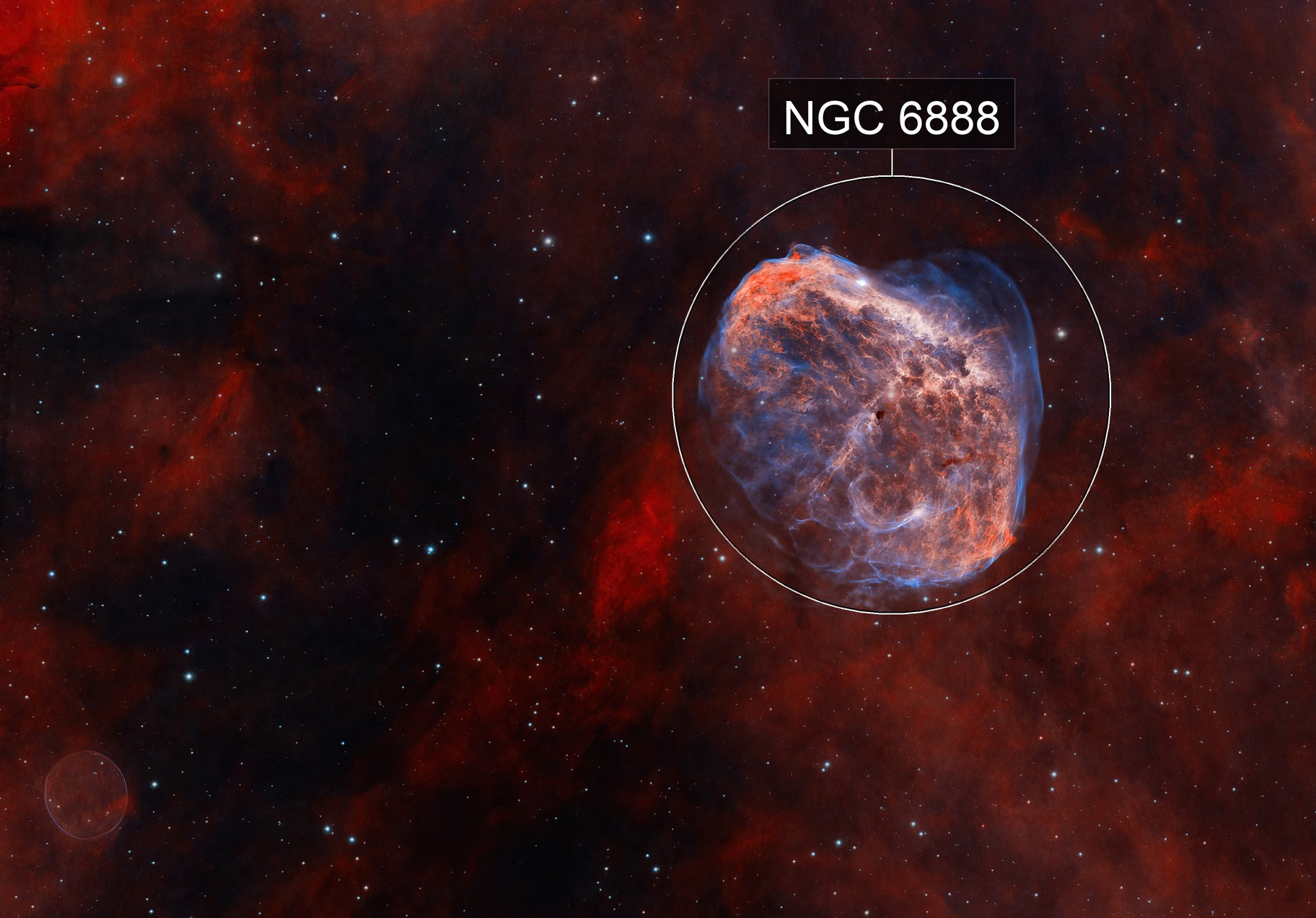 Crescent Nebula and Soap Bubble NGC6888