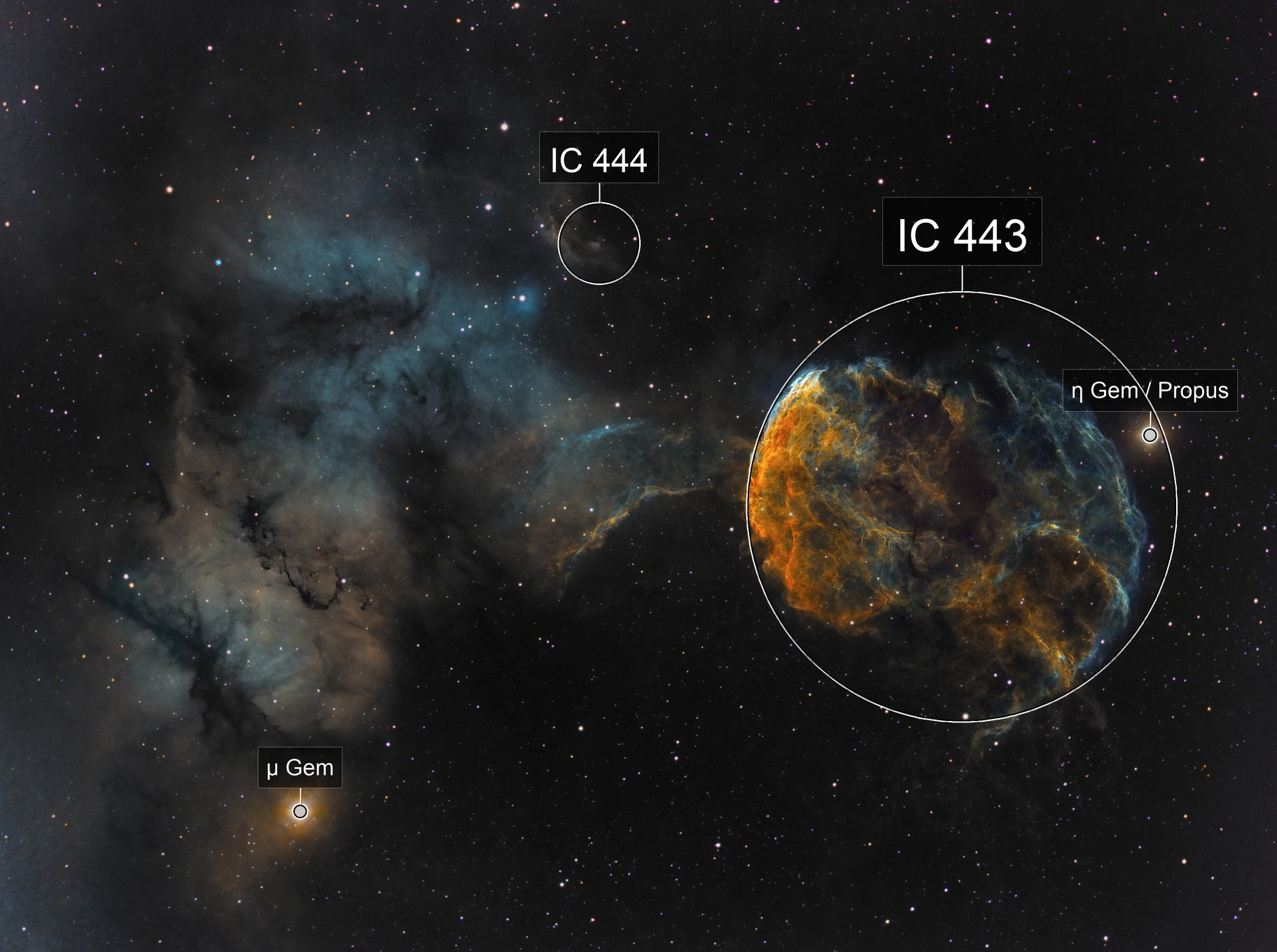 The Jellyfish Nebula - IC 443 and surrounding IC 444