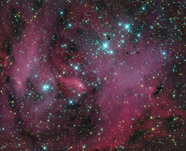 IC2944 Open Cluster, IC2948 Nebula and Bok Globules