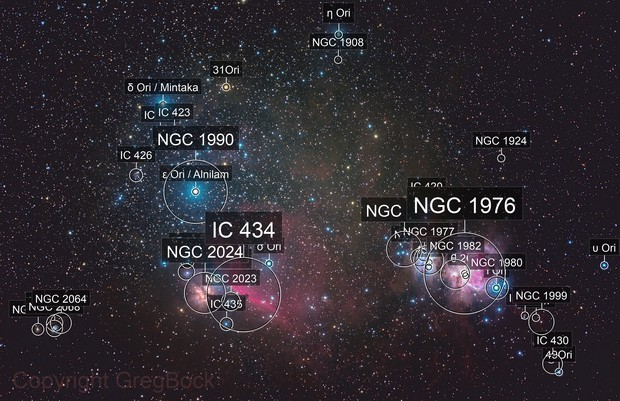 """Colourful Orion's Belt and Sword (or in Australia, we see """"The Saucepan"""")"""