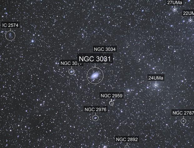 Wide field of Ursa Major , bode galaxies