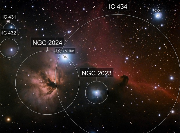 Flame Nebula and Horsehead Nebula