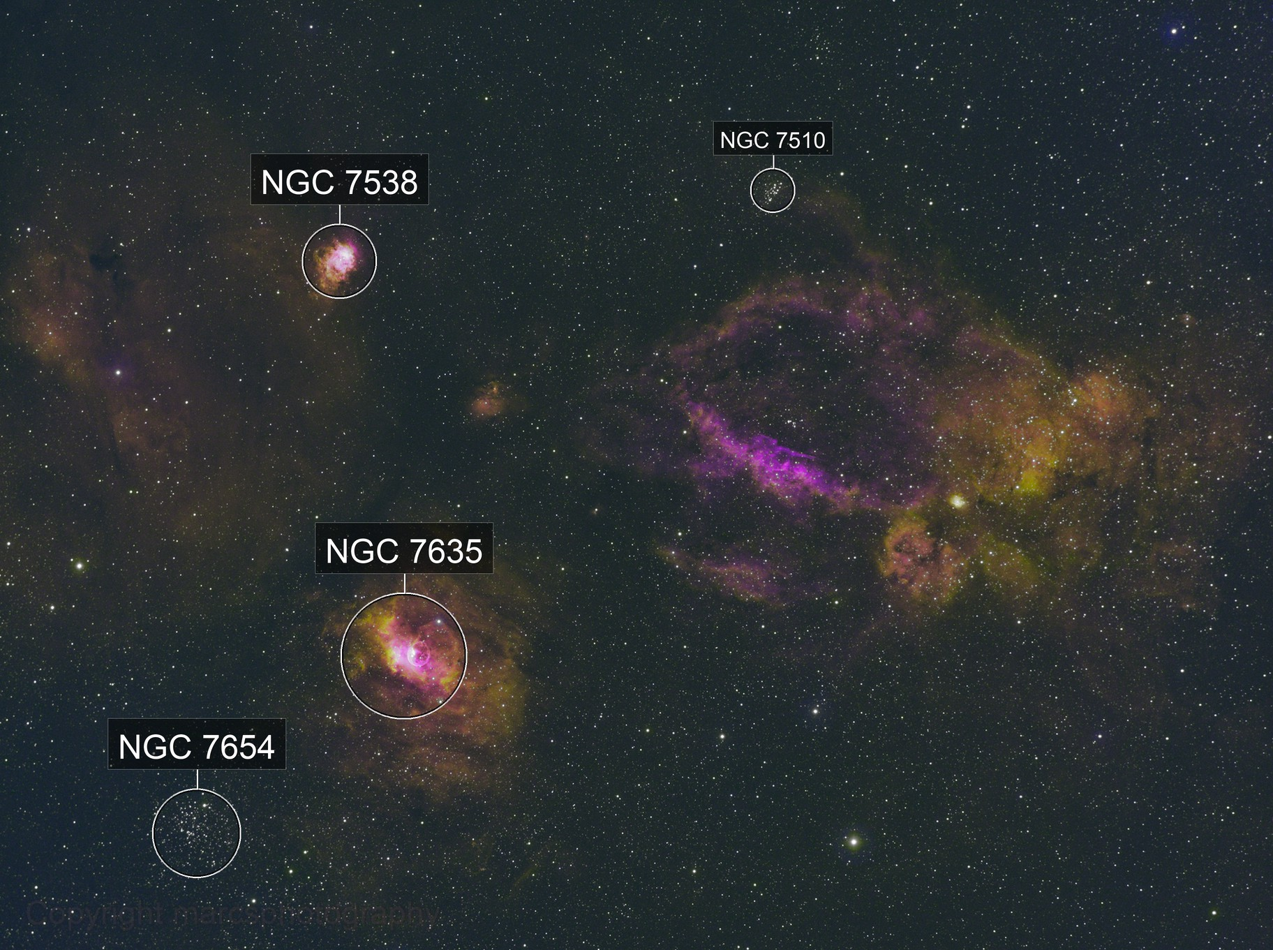 Lobster Claw Nebula, Bubble Nebula, NGC 7538 and more in HSO