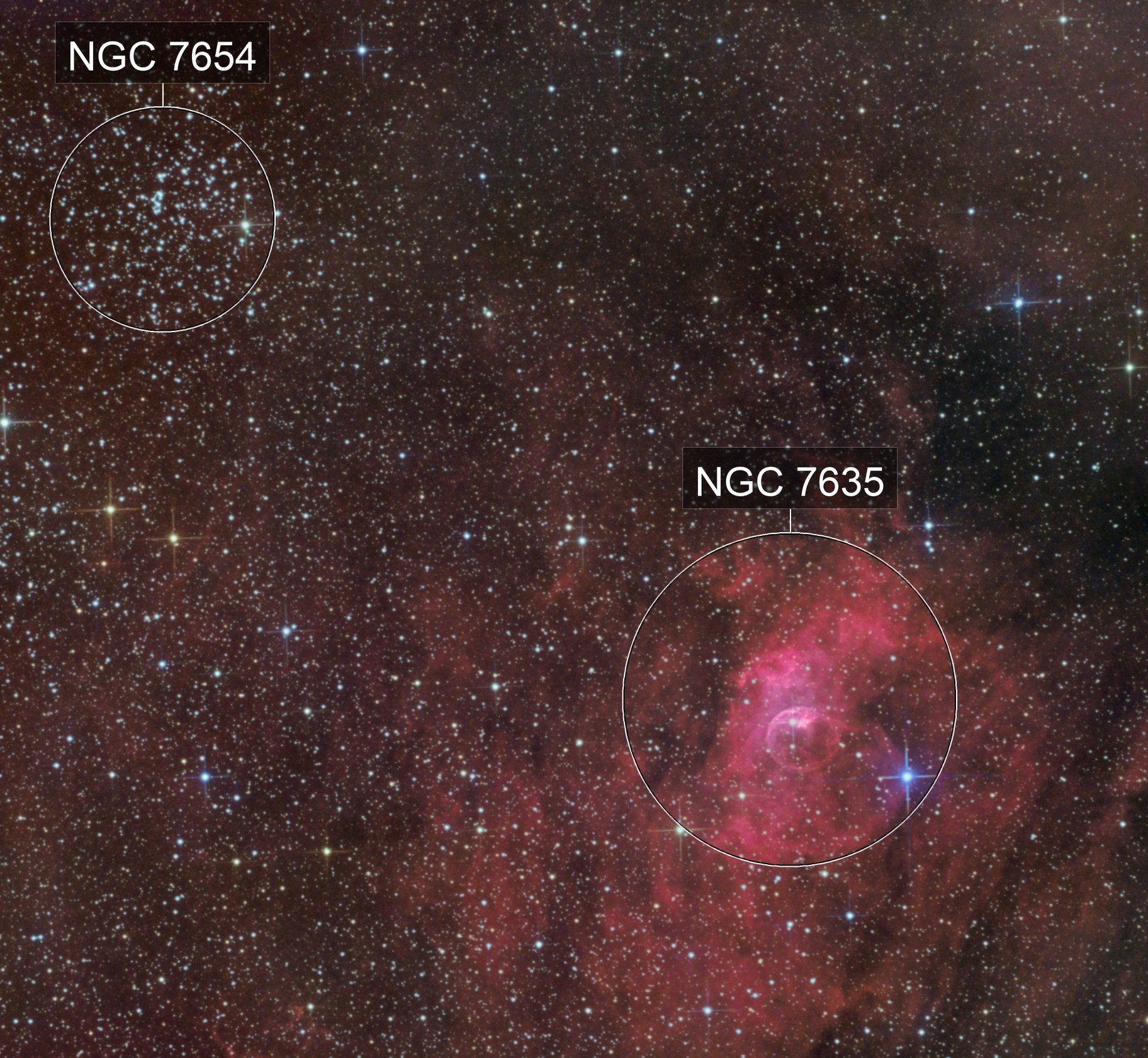 M052 2019 + NGC7635 + KjPn 8