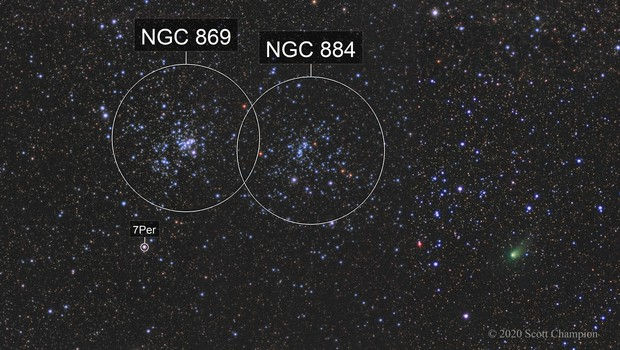 C/2017 T2 (PANSTARRS)  Passes the Double Cluster