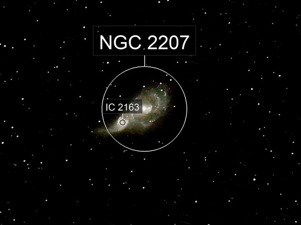 NGC 2207 and IC 2163  Colliding Spiral Galaxies