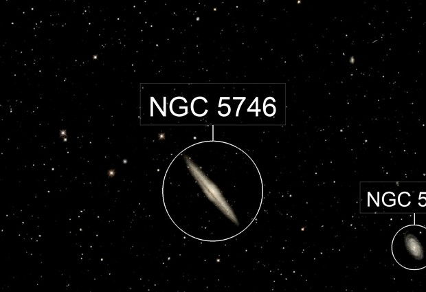 NGC 5746 & NGC 5740 Spiral Galaxy