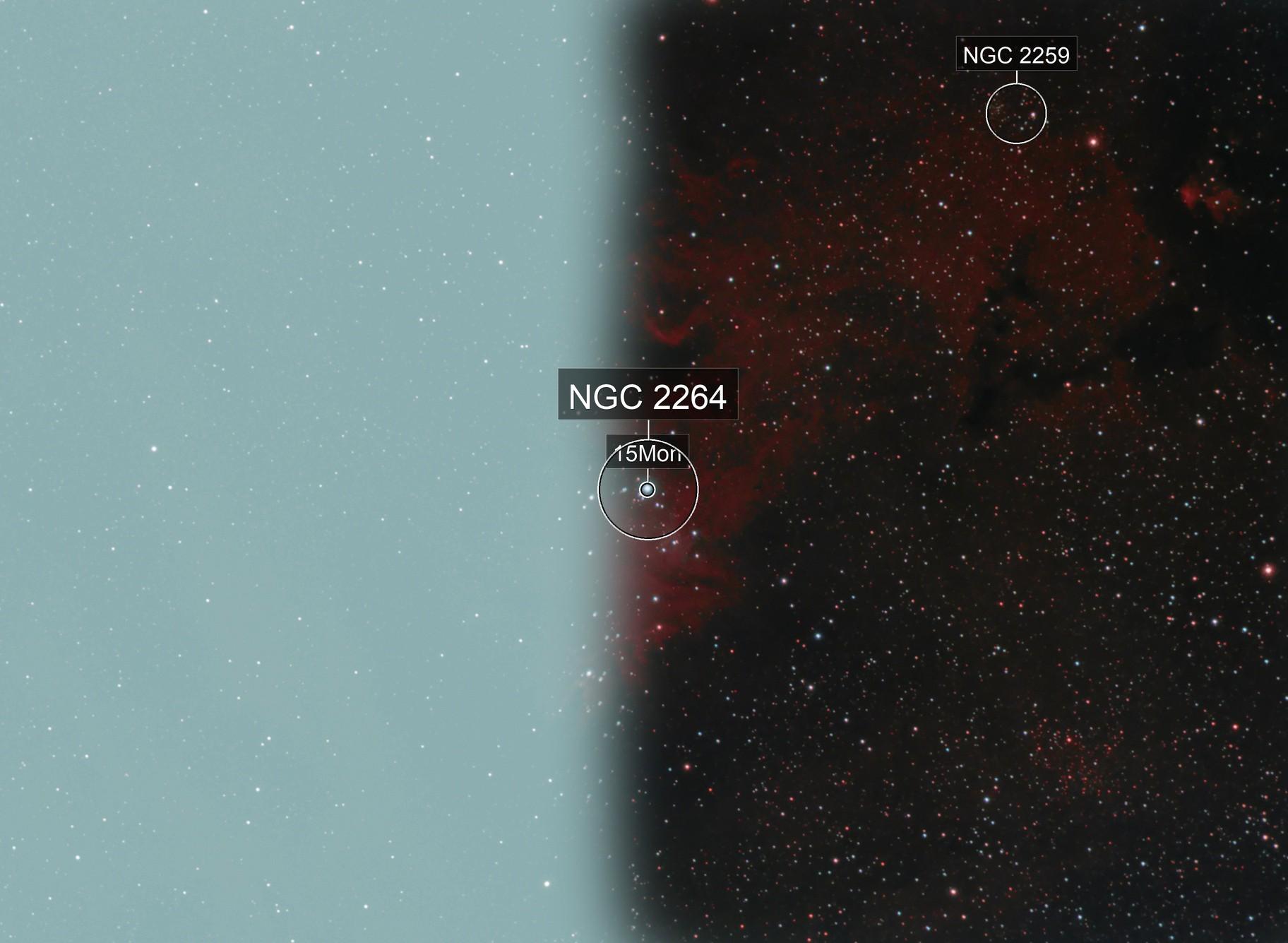 Cone and foxFur nebulas under Bortle 9
