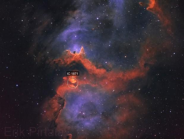 Soul Nebula in Hubble Palette