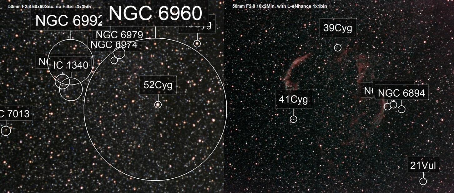 Veil Nebula Comparsion no Filter vs. L-eNhance
