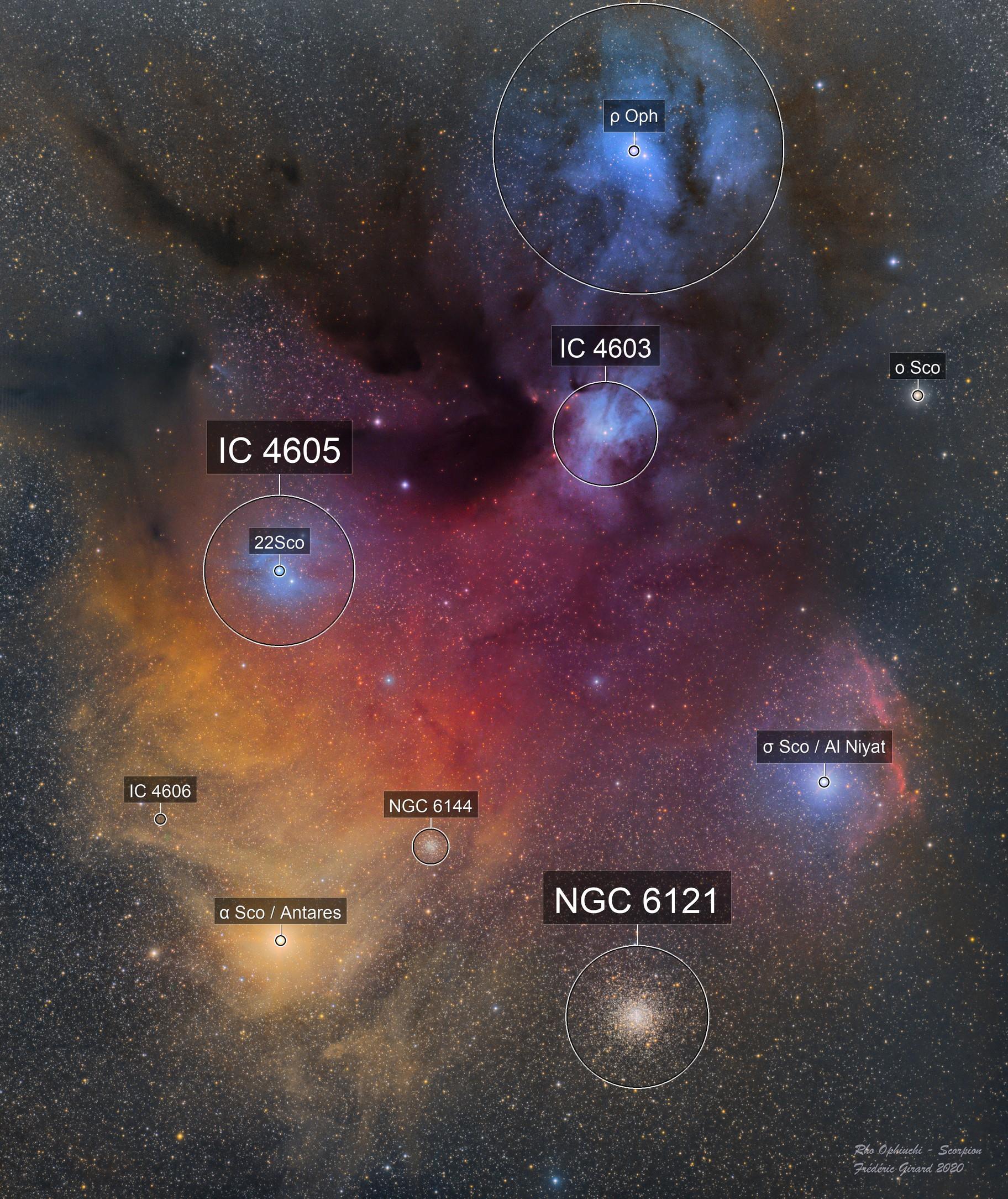 Rho Ophiuchi Nebula in Scorpion - RVB