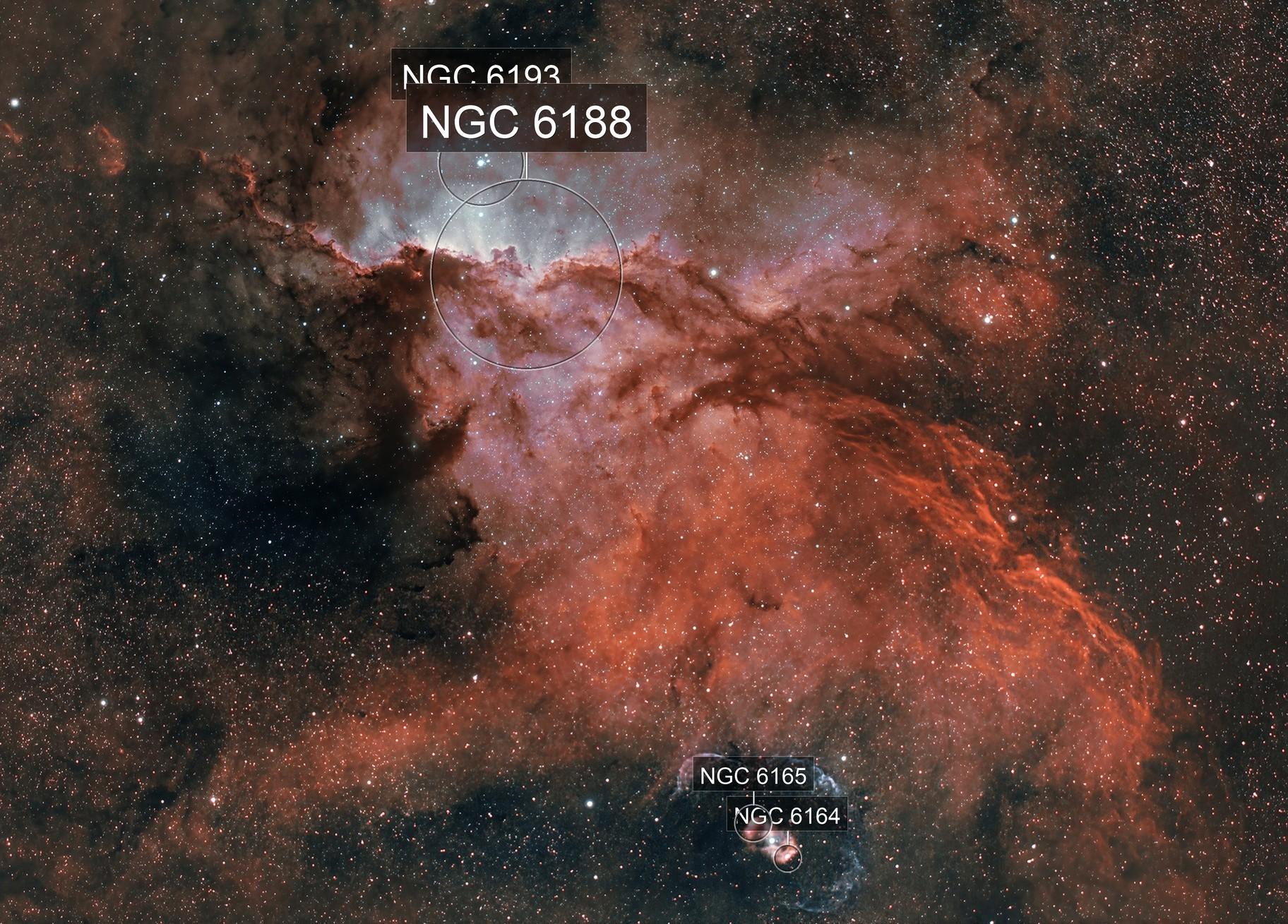 Fighting Dragons and their Egg  NGC 6188 NGC  NGC 6164-5