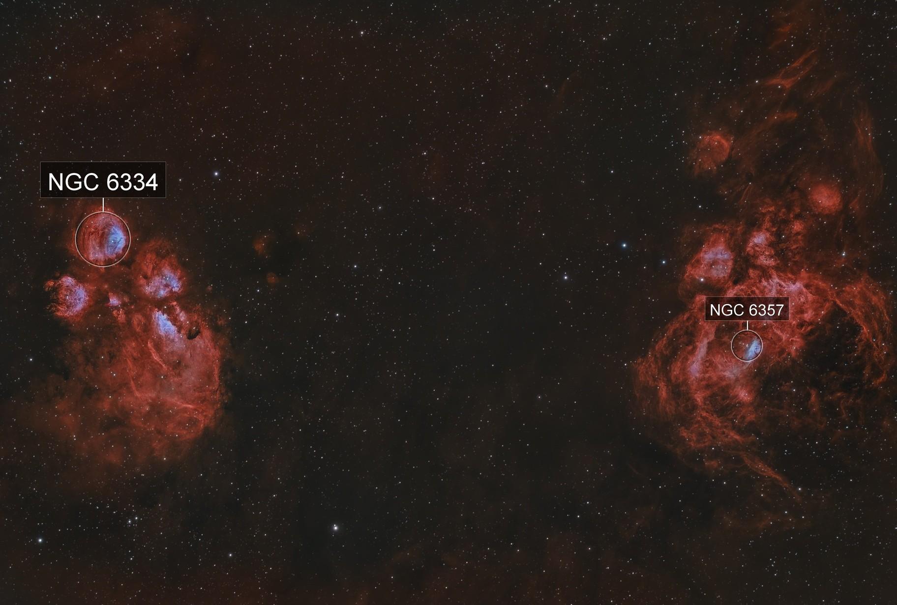 NGC 6334  NGC 6357    Cat's Paw and Prawn nebula widefield