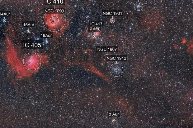 IC405 Flaming Star Nebula, IC410 Tadepole N., wide field