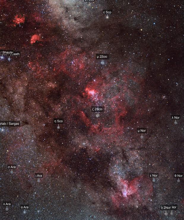 NGC 6357, NGC 6334, IC 4628, NGC 6188
