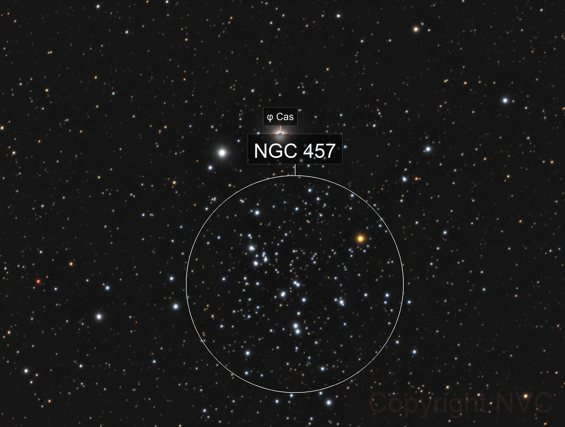 NGC457, Owl cluster, a RGB image, CPH, Denmark