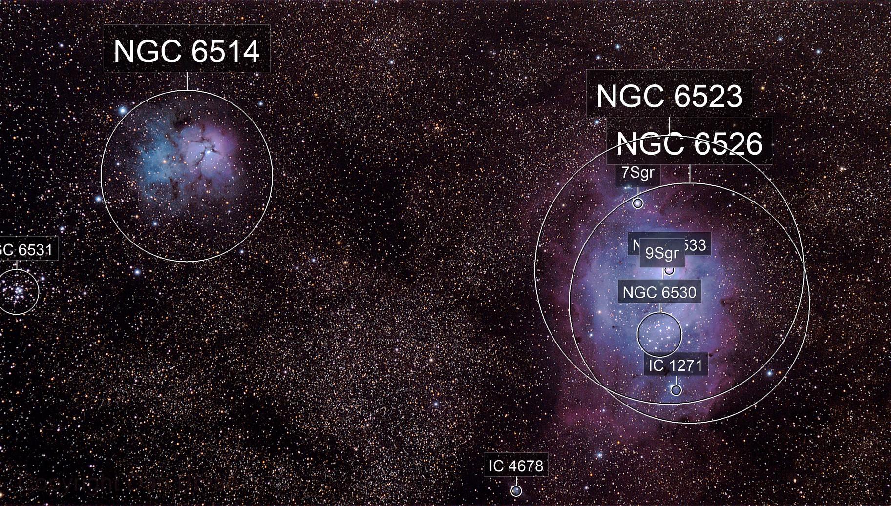 Lagoon nebula and Trifid nebula (M8 & M20)