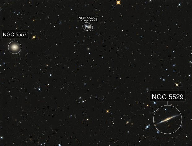 Between NGC 5557 and NGC 5529 in Bootes