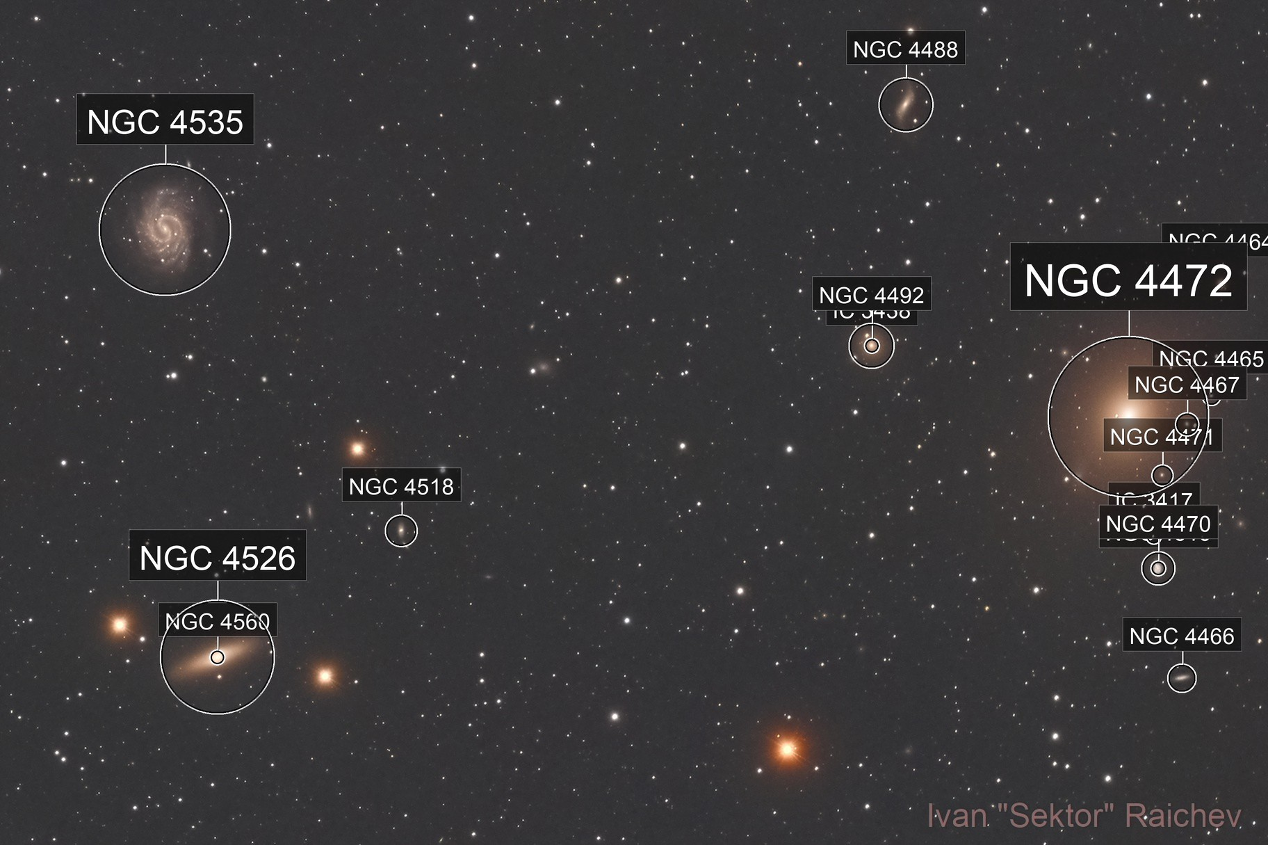 NGC 4535, M49 and friends - imaged from the city