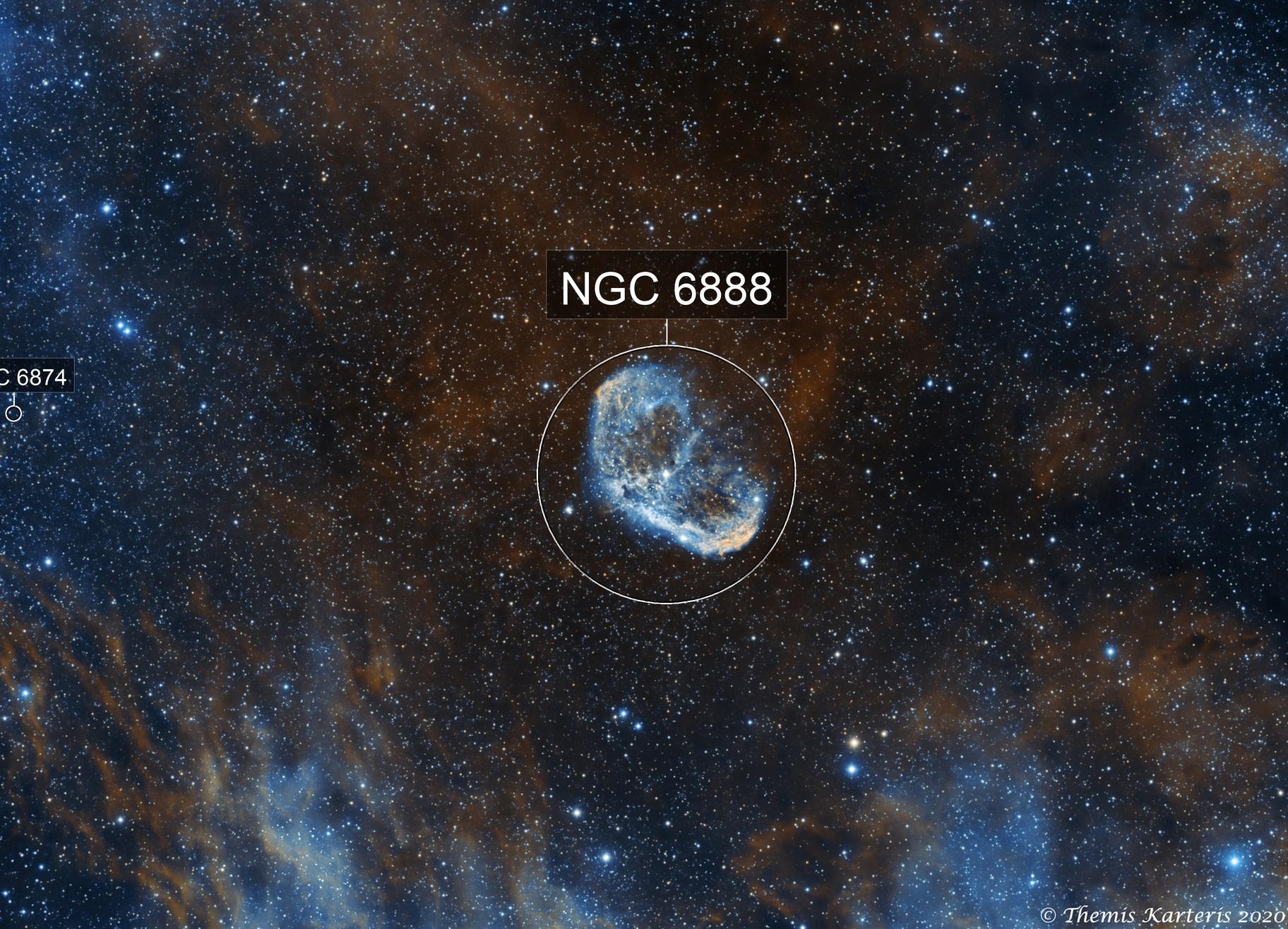 NGC 6888 Crescent Nebula Ha+Oiii Bicolour