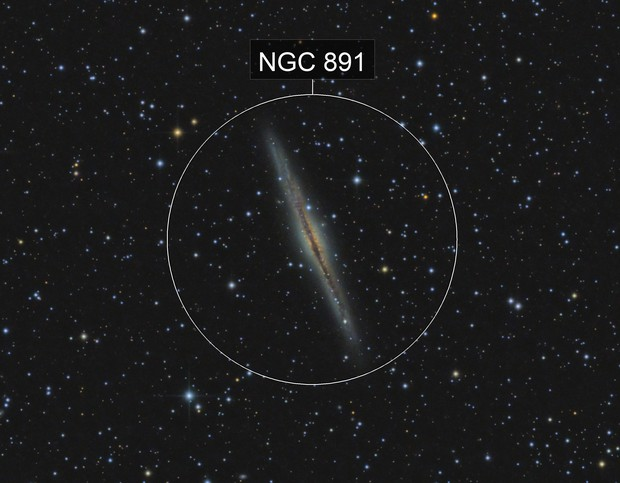 NGC 891 edge-on galaxy in Andromeda