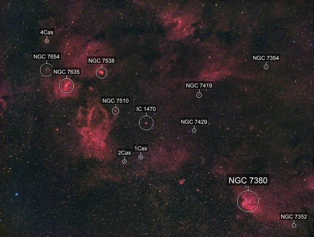 Wide-field of Ha-nebulae at the Cassiopeia / Cepheus border