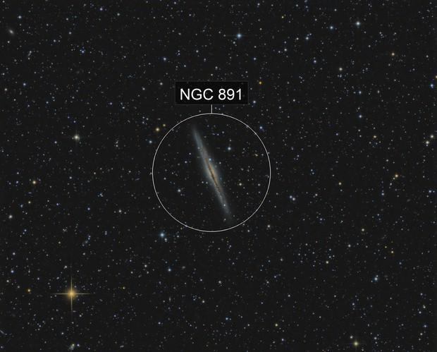NGC 891 edge-on galaxy in Andromeda