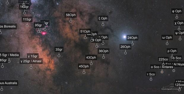 Trifid nebula, Lagoon nebula, Jupiter and milky way