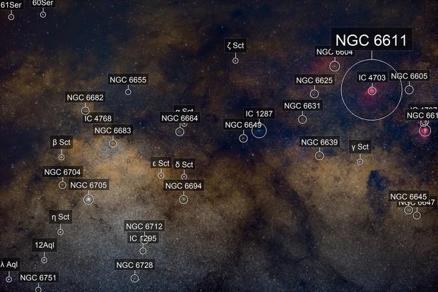 M16 The Eagle Nebula, M17 The Omega Nebula, NGC 6604 Wide Field