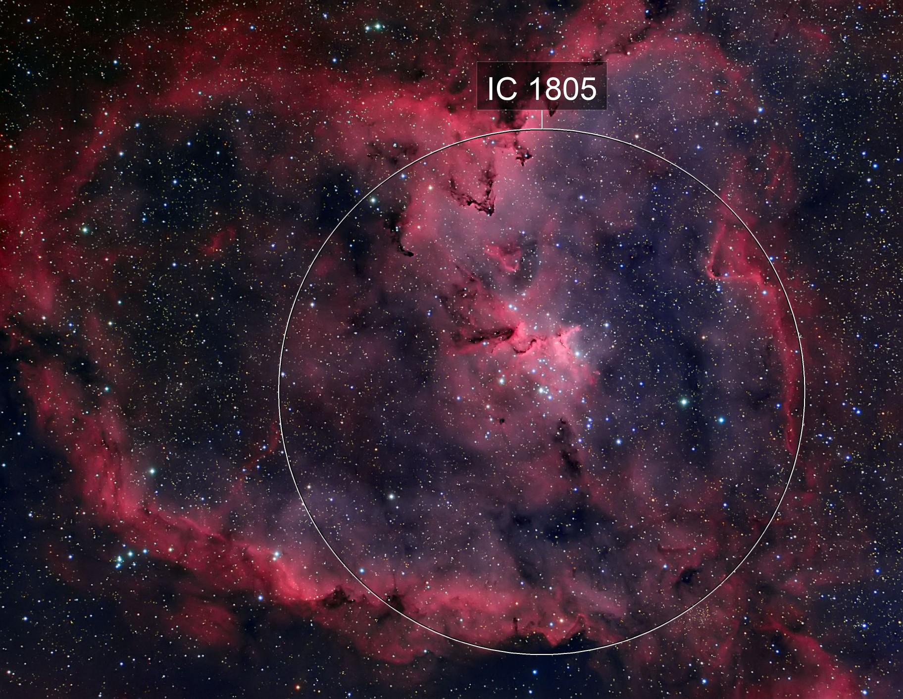 The Heart Nebula, IC 1805, Sharpless 2-190