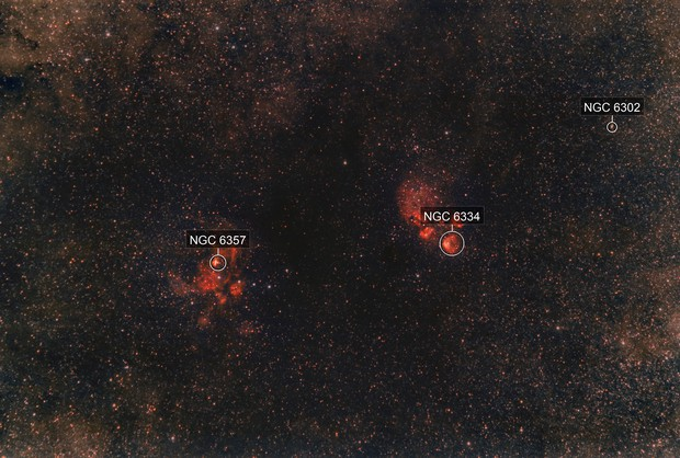 NGC 6334 and NGC 6357 - Cat´ s Paw and Lobster Nebula