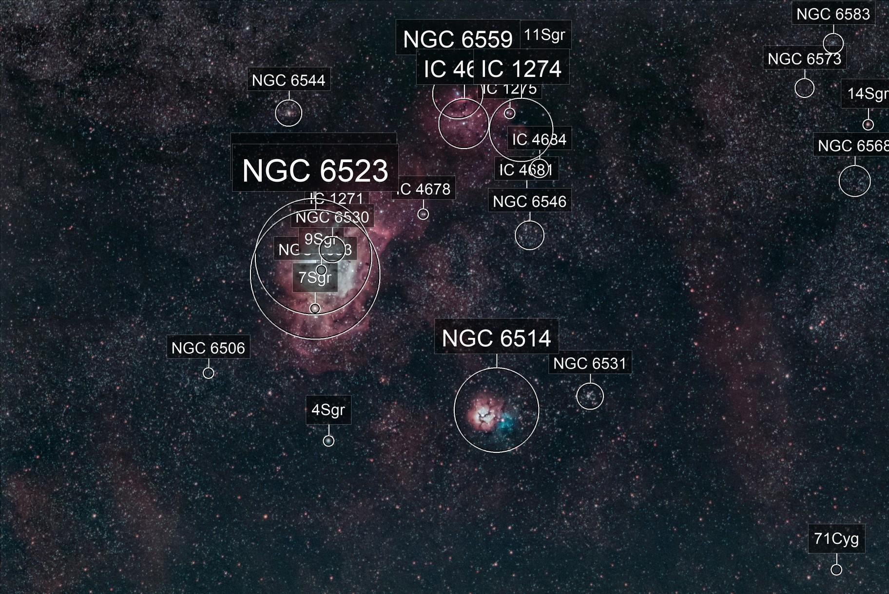 Lagoon and Trifid Nebula - M8 M20