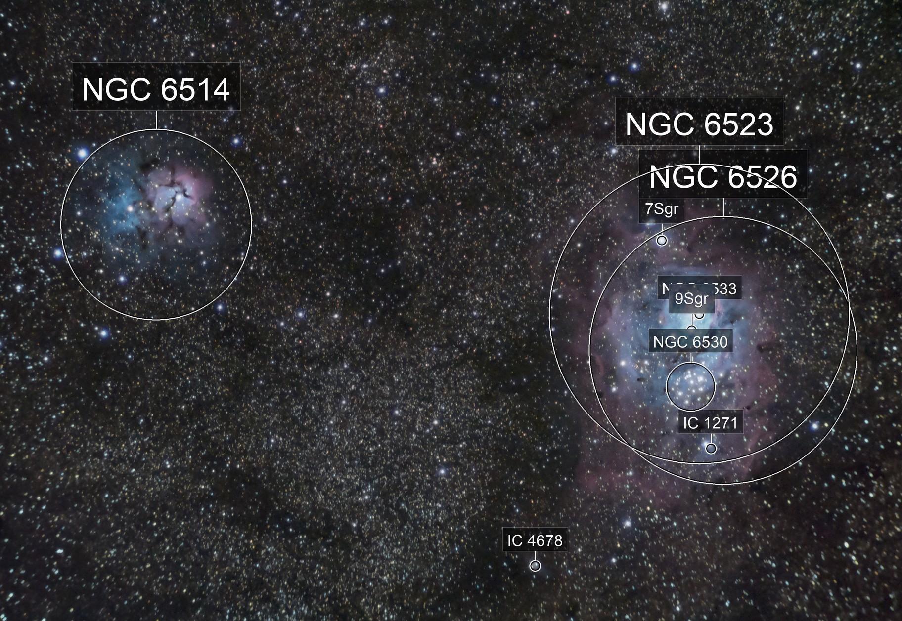 Lagoon and Trifid Nebula - M8 M20 - Budget Gear.