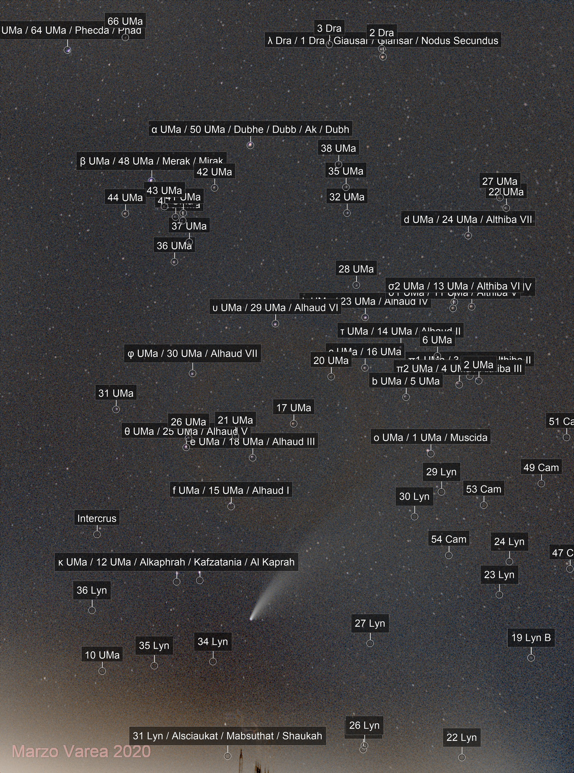 Comet C/2020 F3 (NEOWISE) in a Bortle 8 sky