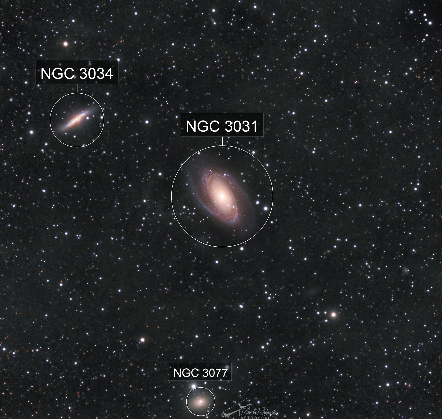 Bode and Cigar Galaxies with slight IFN