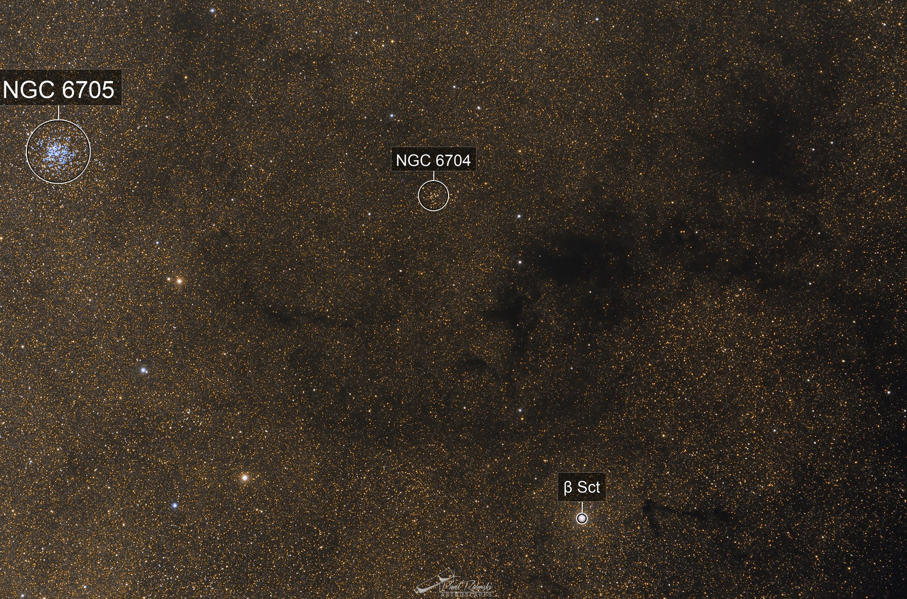 Barnard 110 and Wild Duck Cluster in Milky Way arm