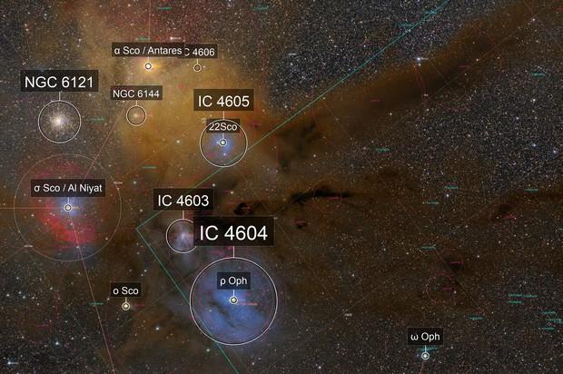 Antares, Rho Ophiuchi, M4, and nebulae